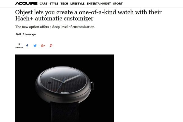 Objest automatic watch featured on Acquire lifestyle blog