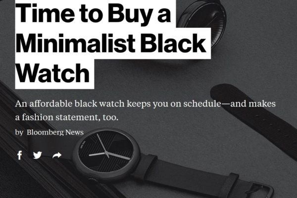 Objest black mens watch featured in Bloomberg news