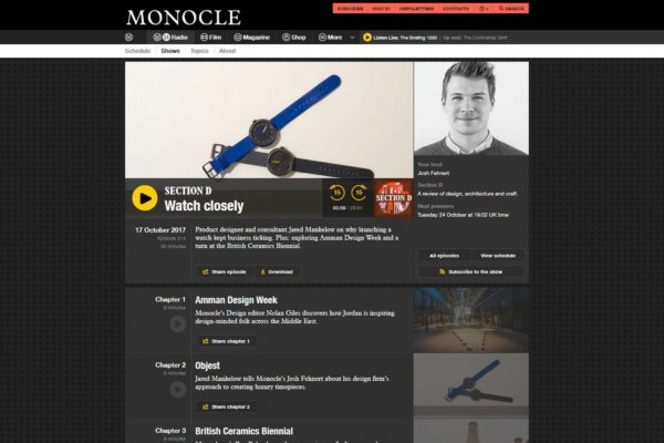Objest appears on Monocle Section D radio interview